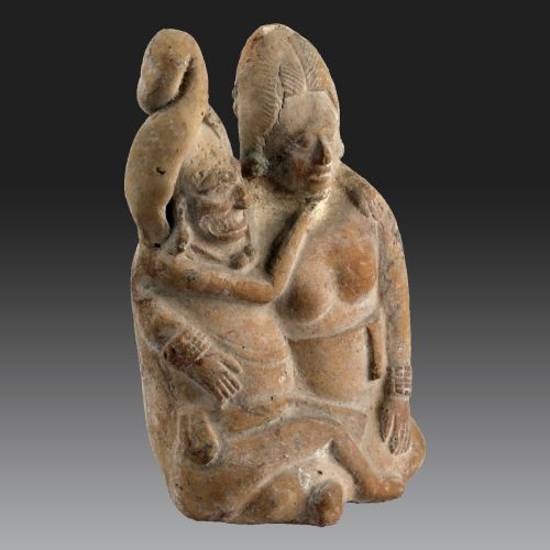 TWO PEOPLE SITTED, Mexico, Jaina Island, Maya (Late Classic, 600-900 AD)