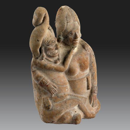 DEUX INDIVIDUS ASSIS, Mexique, Île de Jaina, Maya (Classique récent, 600-900 PCN)